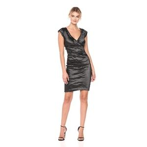 Nicole Miller Techno Metal Wrap Dress